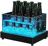Champagne cubo LED cubo de hielo que brilla cubo de hielo de gran capacidad de luz blanca y en color Fuente de luz vino, cerveza material acrílico es durable impermeable recargable, acero inoxidable B