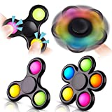 NiHealth 2PCS Bubble Fidget Spinner, 2-in-1 Multicolor Push Pop Fidget Pack Sensory Hand Toy High-Speed Rotation Stress Reducer Relief Relax Anti-Anxiety Finger Spinner for Kids Adults (Black Frame)