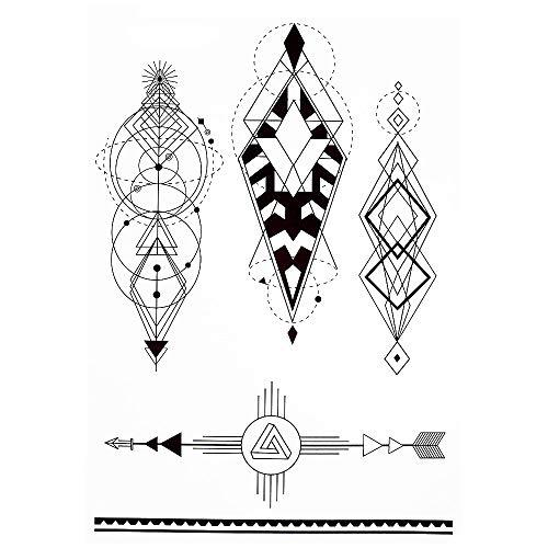 Tatouages géométriques Lignes Tatouages pour homme - Faux tatouages J514