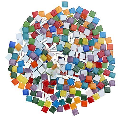 360 stücke mischfarbe mosaikfliesen, mosaik glasstücke für heimtextilien diy handwerk mosaikherstellung, platz (1x1 cm)