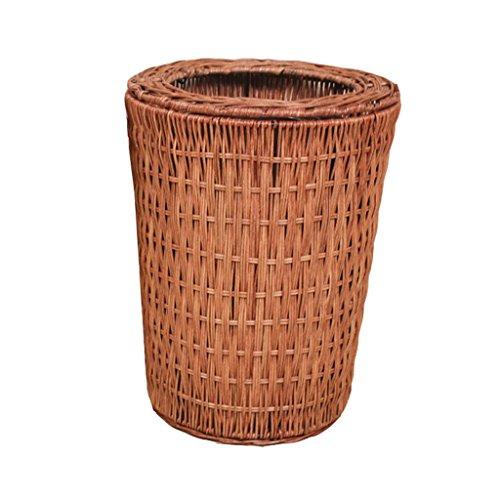 FORWIN UK- Bambus Rattan Trash Home Wohnzimmer Schlafzimmer Keine Abdeckung Druckring Müll Große Mülleimer (Farbe : Brown, Größe : 8L)