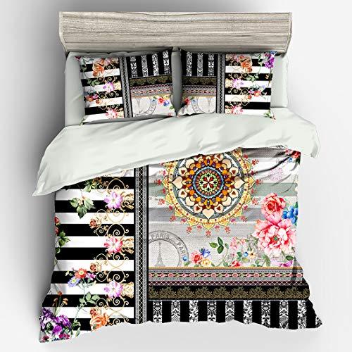 Cnspin 3D-Digitaldruckbettwäsche 100% Polyesterfaser Bettwäschepaket Einschließlich Bettbezüge und Bettlaken 3 stück,D,180CMX210CM
