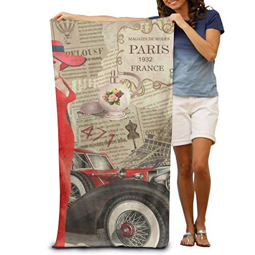 BEDKAGD Super weiches Badetuch Vintage Paris Ferrari schnell trocknend Strandtuch Reisedecke Schwimmen Spa Handtuch Große Größe 80 cm x 130 cm