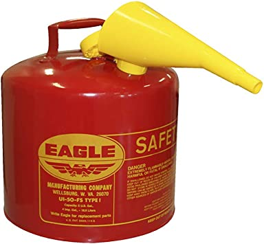"""Eagle UI-50-FS Red Galvanized Steel Type I Gasoline Safety Can with Funnel, 5 gallon Capacity, 13.5"""" Height, 12.5"""" Diameter,Red/Yellow: image"""