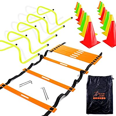 "Big B Pro Sports Speed Agility Training Set - Includes 20 Foot Agility Ladder, 24 Multi Colored 6"" High Cones, 5 Hurdles 6 Inch High, Carry Bag, for Training Football, Soccer, and Basketball Athletes"