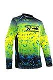 Performance Vented Fishing Shirt Long Sleeve Shirt Mesh Side Vents UPF50 Dye Sublimation Print,Yellow, X-Large