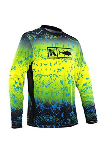 Performance Vented Fishing Shirt Long Sleeve Shirt Mesh Side Vents UPF 50 Dye Sublimation Print, Yellow, Large