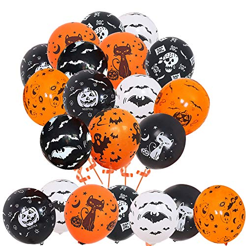 Halloween Decorations Latex Balloons, 50pcs 12 Inch Pumpkin Bat Ghost Skull Spider Web Balloon for Halloween Party Supplies Trick or Treat Toys