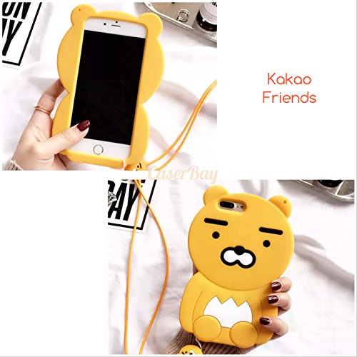"""CaserBay] Compatible with iPhone 8 Plus & 7 Plus 5.5"""" Phone Case 3D Cartoon Kawaii Lion Animal Series Soft Silicone Rubber Cover with Strap (Lion with Strap)"""