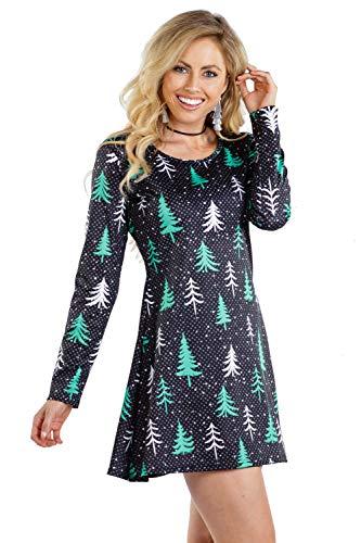 Tipsy Elves Women's Tree Long Sleeve Dress - Cute Christmas Tree Christmas Dress: S Black