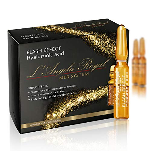 L'Angela Royal Ampollas Flash Effect, Ácido Hialurónico, Hidratación Instantánea, Efecto Tensor inmediato, Antienvejecimiento, Para Piel Seca, Grasa Y Mixta, 5 x 1.5ml