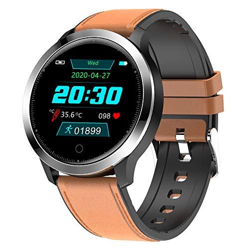 Reloj inteligente deportivo con temperatura corporal, rastreador de fitness con monitor de frecuencia cardíaca, reloj inteligente para hombres y mujeres para iPhone teléfono Android de cuero marrón