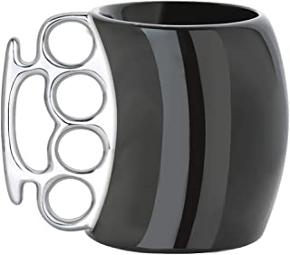 Funny Coffee Mug,Brass Knuckle Duster Creative Ceramic Cool White Mugs with Silver Handle