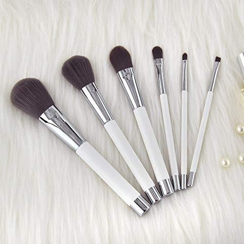 Pincel Maquillaje 6 Manijas Madera Blancas Herramientas