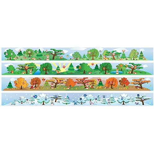 Wandkings Bordüre - Wähle ein Motiv - Eulen und Füchse - 4x selbstklebende Wandbordüren je 150 cm - Gesamtlänge: 600 cm - Höhe: 12,5 cm