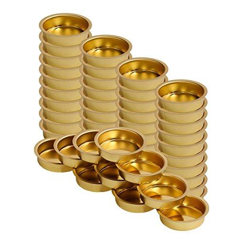 Teelichthalter Messing 40mm flach - Teelicht Tülle für Standard Teelichtkerzen, Größe:50er Set