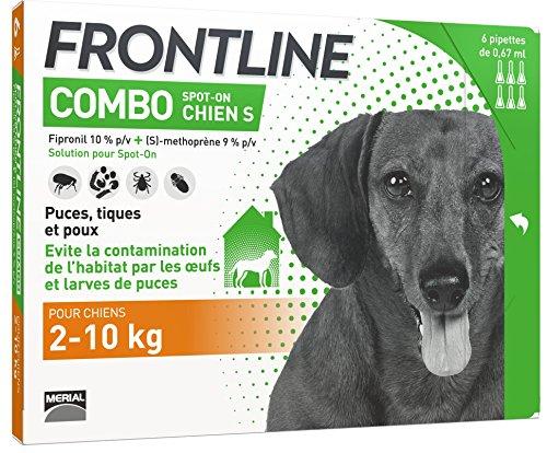 FRONTLINE Combo Chien - Anti-puces et anti-tiques pour chien - 2-10kg - 6 pipettes