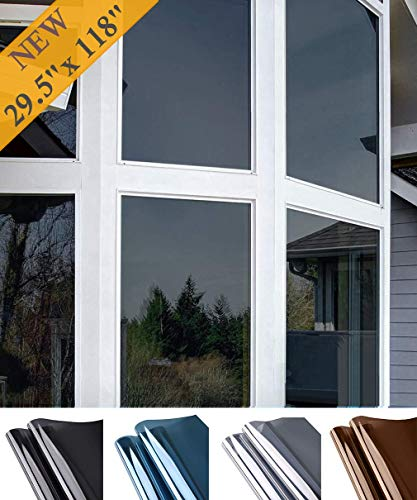 Oxdigi Window Privacy Film Sun Blocking Mirror Reflective Tint One Way, Heat Control Window Vinyl Anti UV Static Cling Non-Adhesive Stickers for Home and Office 29.5 Inch x 9.8 Feet Black