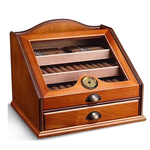 Adesign Humidor - Gran Vidrio-Top Box con humidificador higrómetro - Clásico de contenedores de almacenamiento de madera - Mejor cigarro de accesorios de regalo for los hombres - Mantiene 50-100 Cigar