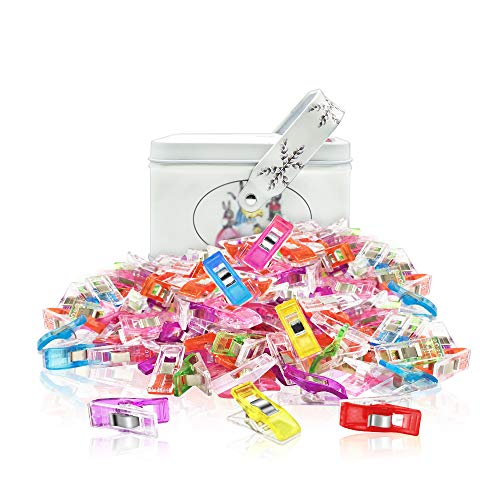 JABINCO 100PCS Multipurpose Sewing Clips,Assorted Colors Wonder Clips with Tin Box