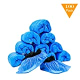 JIAQUAN 100 Pack (50 Pairs) Disposable Plastic Shoe Covers & Boot Covers Waterproof Non-sl...