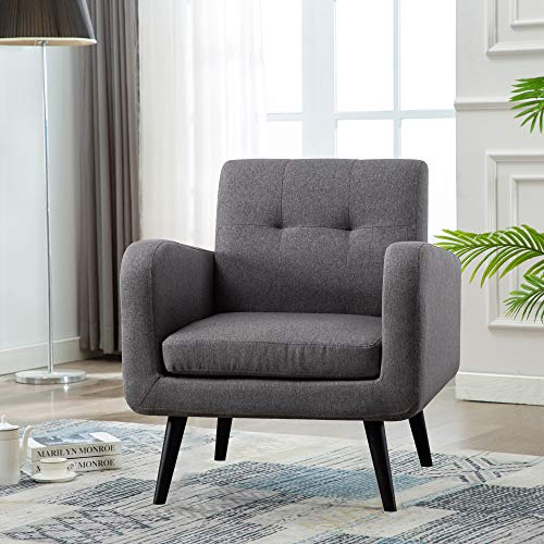 Mid Century Modern Fabric Arm Chairs for Living Room, Living Room Chairs, Accent Chair, Dark Gray,Set of 1