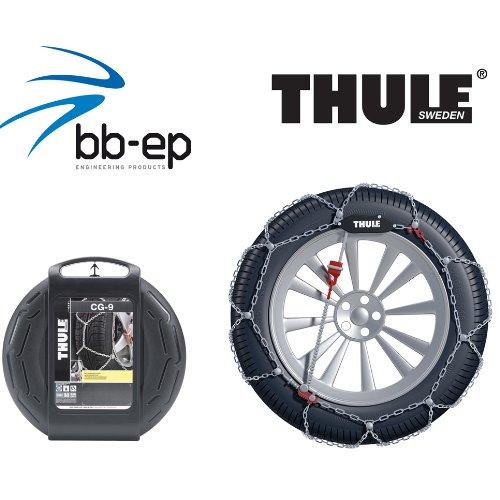 Feingliedrige Schneekette THULE 9mm (9719095350) für Mazda 3 (2014) mit der Reifengröße 205/60 R16 im Set mit hochwertigen Handschuhen - CG9095