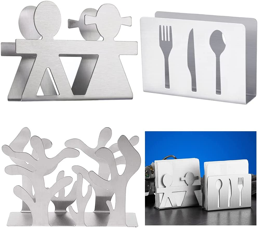 Servilletero de acero inoxidable para mesa,3 Piezas Soporte para servilletas Servilletero de papel de metal,para cocina, restaurante o fiesta