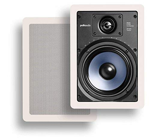 Polk Audio RC65i 2-way Premium In-Wall 6.5' Speakers, Pair of 2 Perfect for Damp and Humid Indoor/Outdoor Placement - Bath, Kitchen, Covered Porches (White, Paintable-Grille)