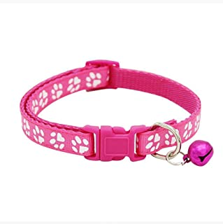 Adjustable Cat Collar Cute Pet Collar with Removable bell for Cats Small Dogs Rose Red
