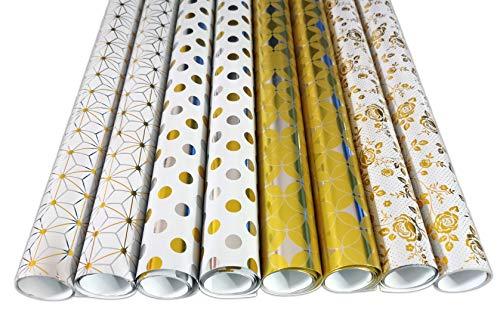 Edel Premium Geschenkpapier Verpackung für Geschenk Geburtstag Hochzeit Weihnachstgeschenkpapier Geschenkverpackung 8 Rollen Set in Silber Gold Sterne Punkte Streifen Rosen Design Rolle je 70 cm x 2 m