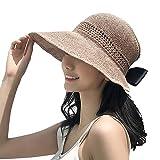 Lazzon Mujer Sombrero Sol de Paja Verano Playa Pamelas Raffia Protección ala Ancha UV...