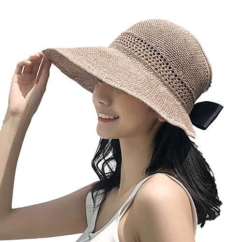 Lazzon Mujer Sombrero Sol de Paja Verano Playa Pamelas Raffia Protección ala Ancha UV Gorro...