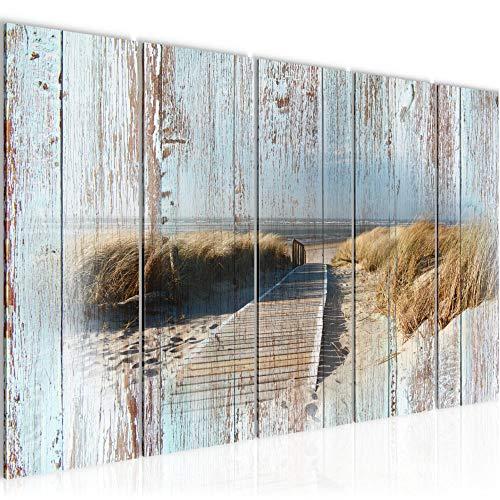 Bilder Strand Meer Wandbild 150 x 60 cm Vlies - Leinwand Bild XXL Format Wandbilder Wohnzimmer Wohnung Deko Kunstdrucke Blau 5 Teilig - MADE IN GERMANY - Fertig zum Aufhängen 604056b