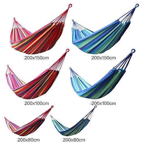 1/2/3 persoons hangmat gekleurde stof 450lb luchtvering schommel outdoor camping, draagbare hangmat tuinschommel hangmat (190 * 100cm, Blauw Wit)
