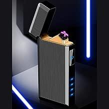 Encendedor eléctrico SHUNING 2019 Nueva llegada USB recargable a prueba de viento Sin llama Cepillo Encendedor Acampar al aire libre Senderismo Cigarrillo encendedor de viaje (Black)