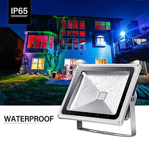 YDBET Proyector LED al Aire Libre, Cambio de Color de Las Luces de inundación con Control Remoto, 16 Colores del RGB, IP65 a Prueba de Agua al Aire Libre de iluminación,30w