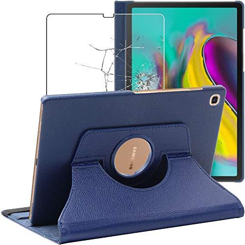 ebestStar - kompatibel mit Samsung Galaxy Tab S5e 10.5 Hülle T720/T725 Rotierend Schutzhülle Etui Ständer, Rotating Hülle Cover, Dunkelblau + Panzerglas Schutzfolie [Tab: 245 x 160 x 5.5mm, 10.5'']