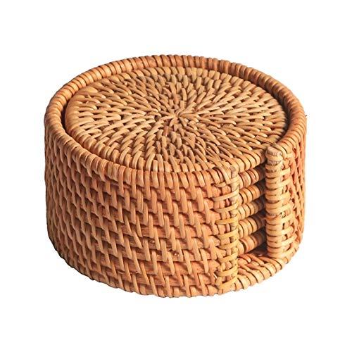 Portavasos 6 unids / bebidas Posavasadores para kungfu accesorios de té redondo vajilla placamat plato alfombra de ratán tejido taza alfombra de estera diámetro 8 cm Antideslizante y anti-escaldaduras