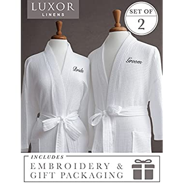 Luxor Linens Egyptian Cotton Bride/Groom Waffle Weave Robe - Perfect Wedding Gift! - Bride & Groom with Gift Packaging