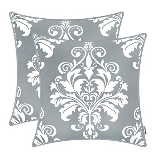 BRAWARM Pack of 2 Cozy Fleece Throw Pillow Covers Cases for Couch Sofa Manual Hand Painted Vintage Solid Damask Floral with Piping 20 X 20 Inches Neutral Gray