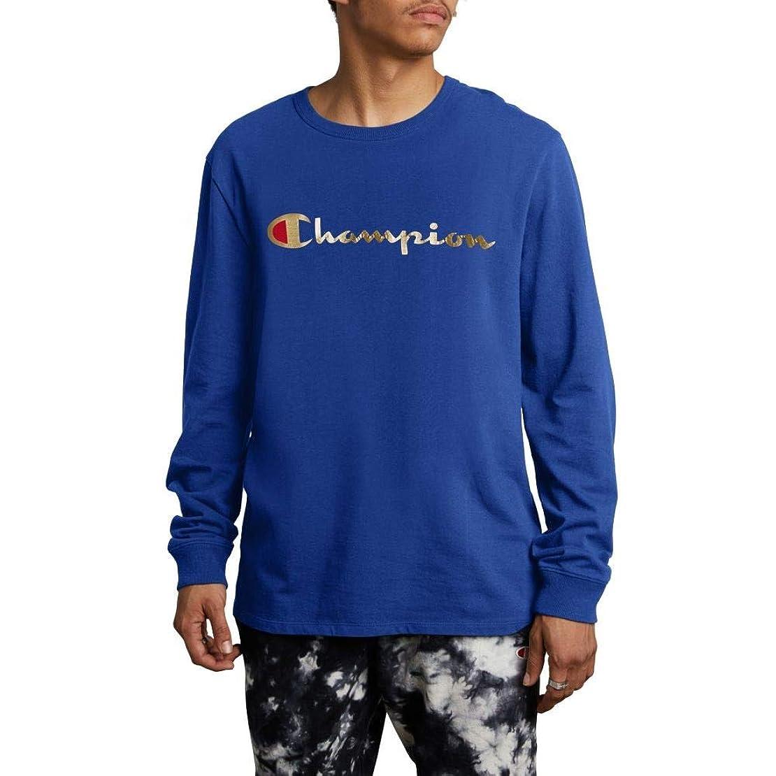 サミュエル仕事冷酷な(チャンピオン) CHAMPION メンズ トップス 長袖Tシャツ Gold Script Logo Long Sleeve T-Shirt [並行輸入品]