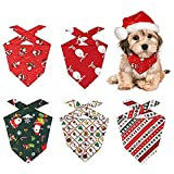 Shengruili 5 Pieces Christmas Dog Bandanas,Triangle Scarf for Dogs and Cats Various,Neckerchief Triangle Bibs,Soft and Durable Pet Scarfs,Quality Christmas Dog Bandanas,Santa Claus Bandanas