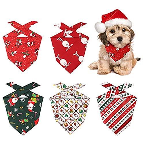 Shengruili 5 Stück Bandana für Hund,Hundehalstuch,Haustier Halstuch,Hunde Christmas Bandana,Haustier Dreieck Lätzchen,Bandana for Small Medium Dogs Cats,Pet Saliva Scarf