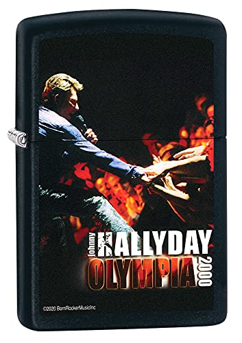 ZIPPO Johnny Hallyday - Black Matte - Briquet tempête à Essence Rechargeable dans Un Coffret Cadeau Haut de Gamme