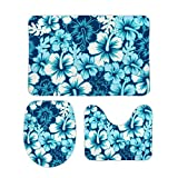 PotteLove Surf Floral Hibiscus 3 Piece Bathroom Rug Set Bath Mat Shower Rug, U Shaped Contour Mat, Lid Cover Non-Slip with Rubber Backing for Tub Shower Bath Room 16' x 24'