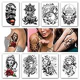 Kotbs 8 Sheets Temporary Tattoos Kindness Wisdom Buddha Sakyamuni Waterproof Temporary Tattoo Sticker Holy Faith Tower Arm Tattoos Body Art Fake Tatoo