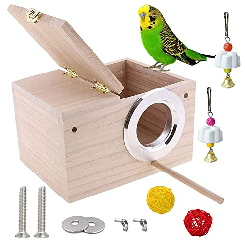 "JSLZF Bird Nesting Box, Wood Budgie House with Perch, Parrot Mating Nest for Finch, Lovebirds, Sparrow Small Bird 7.8"" x 4.7"" x 4.7"""