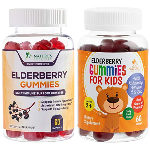 Elderberry Gummies for Kids and Adults Extra Strength Sambucus Gummy Vitamins with Vitamin C & Zinc - Natural Immune Support