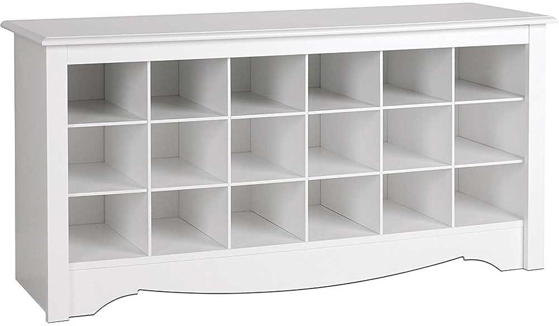Prepac WSS-4824 shoes Storage Cubbie Bench, White